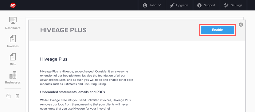 Enable button on the Hiveage Plus module page