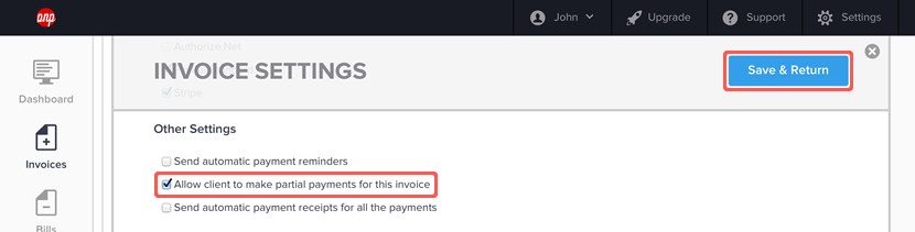 enabling partial payments for an invoice | hiveage - online, Invoice examples