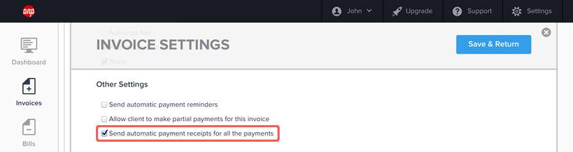 Enabling payment receipts for an invoice