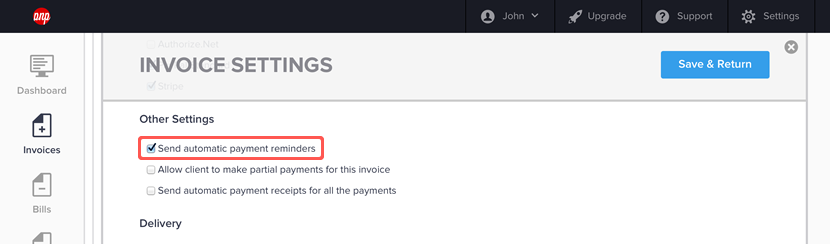 Enabling automatic reminders for an invoice