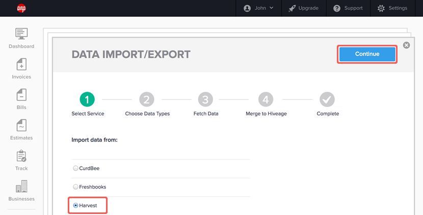 importing data from harvest step 2