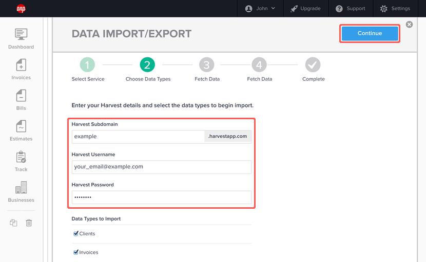 importing data from harvest step 3