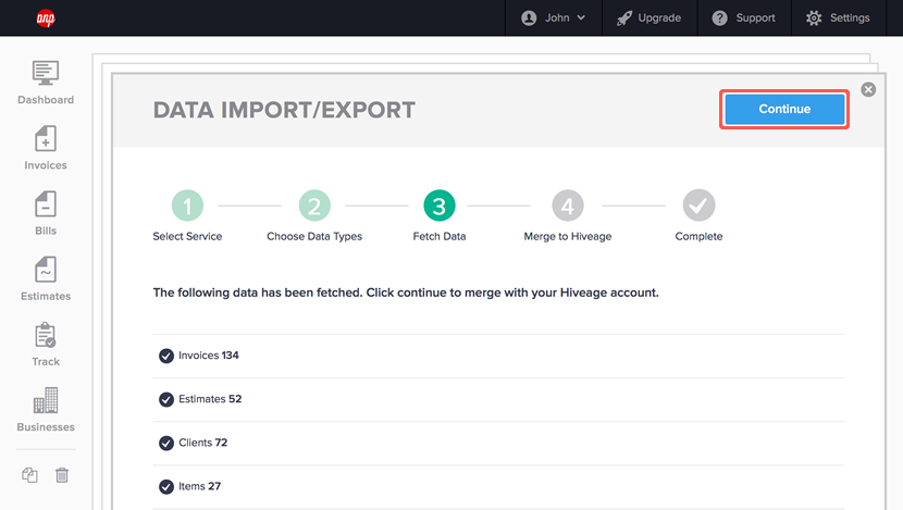 importing data from harvest step 5